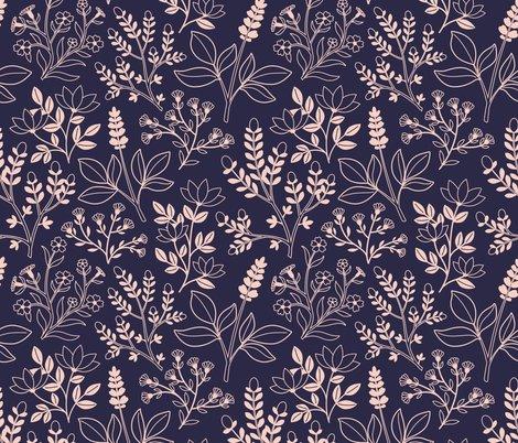 Navy Blush Pink Floral Wallpaper Alyssa Scott Spoonflower