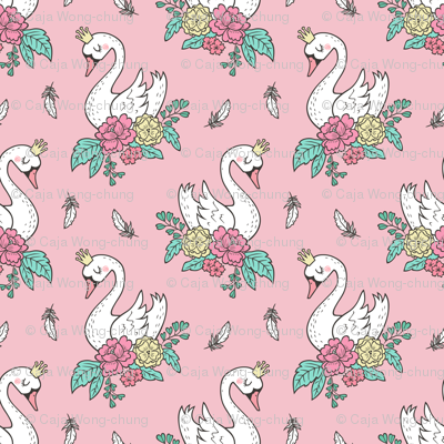 Dreamy Swan Swans & Vintage Boho Flowers and Feathers on Pink