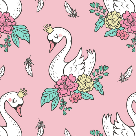 Dreamy Swan Swans & Vintage Boho Flowers and Feathers on Pink  fabric by caja_design on Spoonflower - custom fabric