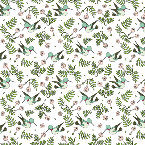 Hummingbird Garden // by Sweet Melody Designs fabric by sweetmelodydesigns on Spoonflower - custom fabric