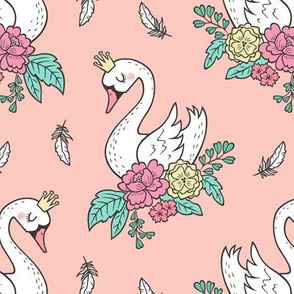 Dreamy Swan Swans & Vintage Boho Flowers and Feathers on Peach