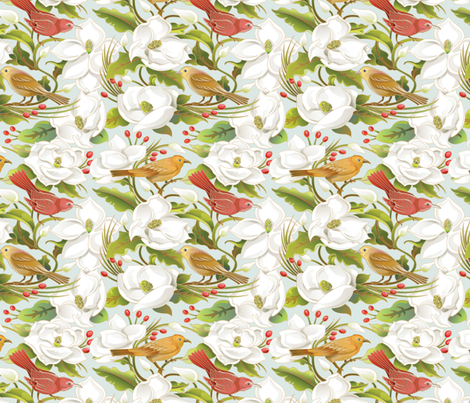 Birds_in_Magnolias fabric by julistyle on Spoonflower - custom fabric