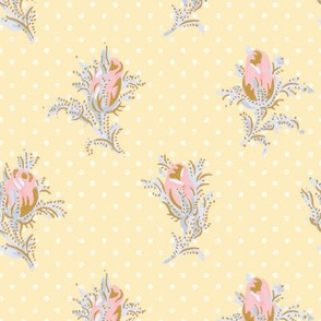 Melbourne Rose ~ Dauphine, Versailles Blue, and Gilt on Trianon_Cream