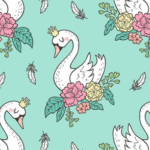 Dreamy Swan Swans & Vintage Boho Flowers and Feathers on Mint Green