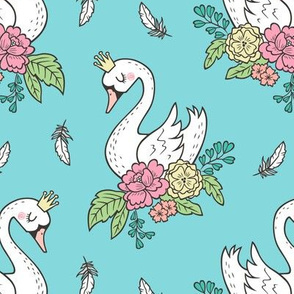 Dreamy Swan Swans & Vintage Boho Flowers and Feathers on Blue Turquoise