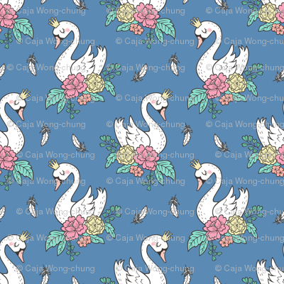 Dreamy Swan Swans & Vintage Boho Flowers and Feathers on Denim Blue