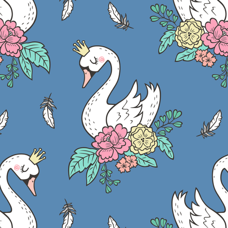 Dreamy Swan Swans & Vintage Boho Flowers and Feathers on Denim Blue fabric by caja_design on Spoonflower - custom fabric