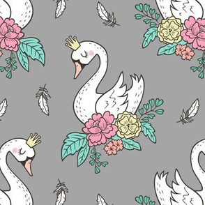 Dreamy Swan Swans & Vintage Boho Flowers and Feathers on  Grey