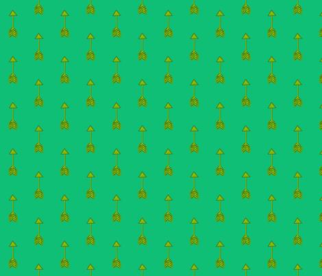 Golden Arrows on Green fabric by hejamieson on Spoonflower - custom fabric