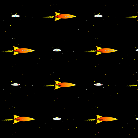 Pulp Rocket and UFO fabric by combatfish on Spoonflower - custom fabric