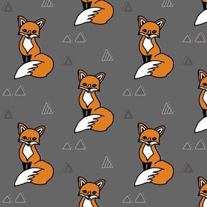Fox on Grey with Triangles