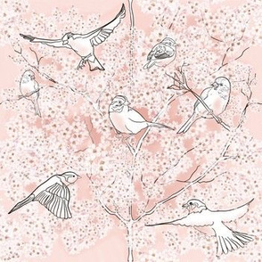 Cherry Blossoms and Sparrow Birds by Salzanos
