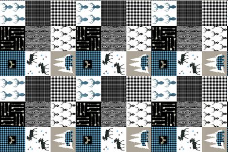 "NORTH WOODS BLUE 6"" fabric by moosedesigncompany on Spoonflower - custom fabric"