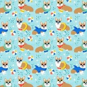 corgi pool party small print summer dog dogs print