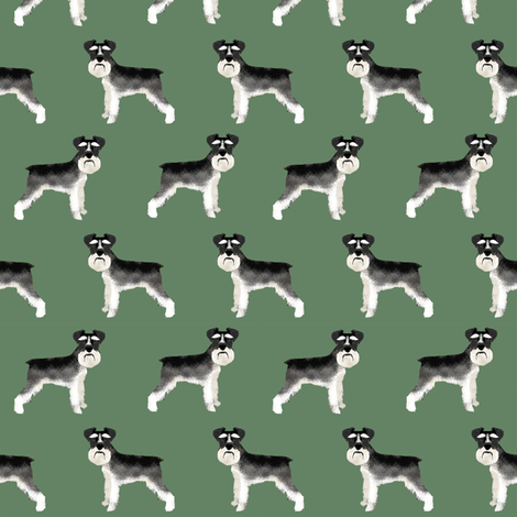 Schnauzer black and white dog plain med green fabric by petfriendly on Spoonflower - custom fabric