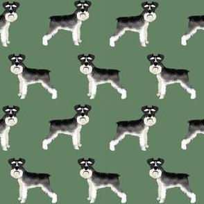 Schnauzer black and white dog plain med green