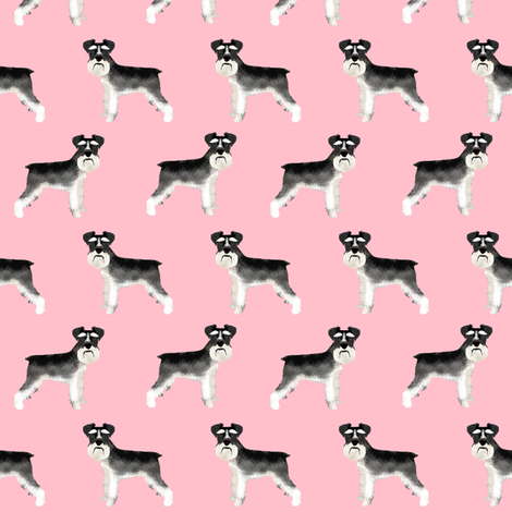 Schnauzer black and white dog plain pink fabric by petfriendly on Spoonflower - custom fabric