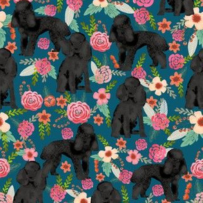Toy Poodle black coat floral 2