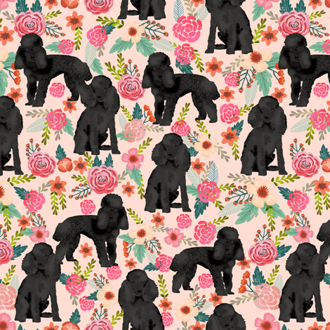 Toy Poodle black coat floral 3 fabric by petfriendly on Spoonflower - custom fabric