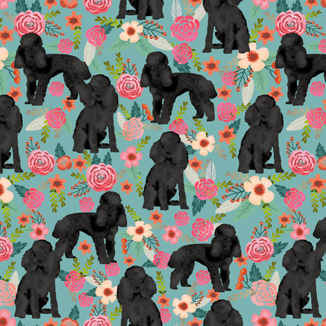 Toy Poodle black coat floral fabric by petfriendly on Spoonflower - custom fabric