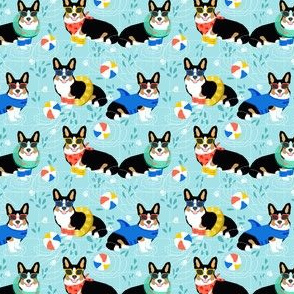 corgi pool party small print summer dog dogs print tricolored corgi