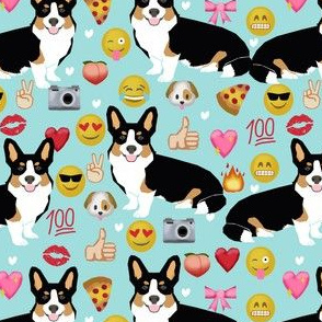 corgi emoji fabric tricolored corgis dog fabric - light blue