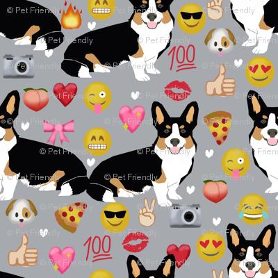 corgi emoji fabric tricolored corgis dog fabric -grey