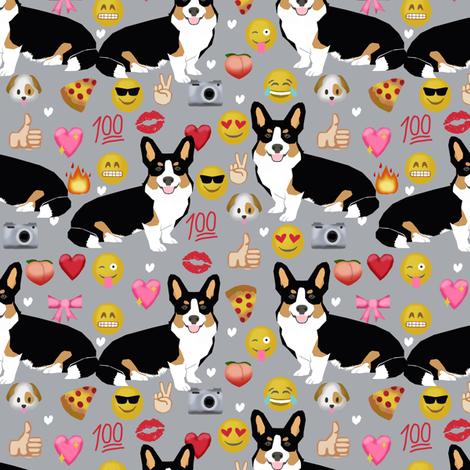 corgi emoji fabric tricolored corgis dog fabric -grey fabric by petfriendly on Spoonflower - custom fabric