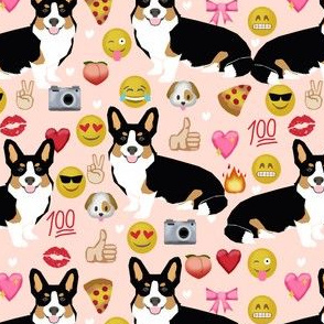 corgi emoji fabric tricolored corgis dog fabric - blush