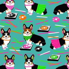 corgi dj raver fabric club glow sticks - turquoise