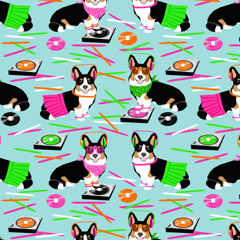 corgi dj raver fabric club glow sticks - light blue fabric by petfriendly on Spoonflower - custom fabric