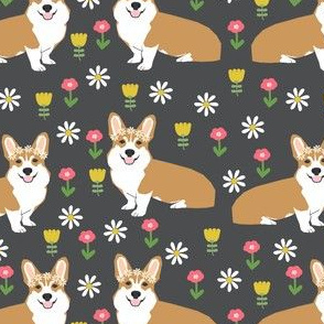 corgi flower child fabric hippie cute florals fabric - charcoal
