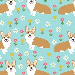 corgi flower child fabric hippie cute florals fabric - light blue