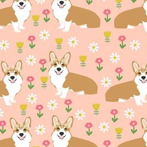 corgi flower child fabric hippie cute florals fabric - blush