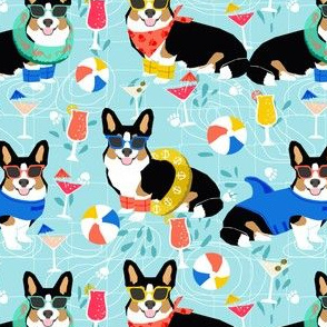 corgi pool party fabric dogs summer fabric - light blue