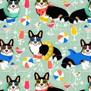 corgi pool party fabric dogs summer fabric - mint