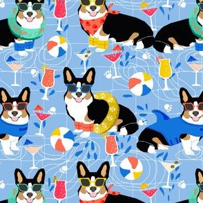 corgi pool party fabric dogs summer fabric - blue