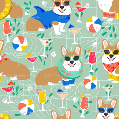 corgi pool party fabric dogs summer fabric - mint