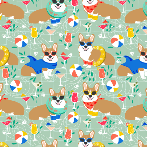 corgi pool party fabric dogs summer fabric - mint fabric by petfriendly on Spoonflower - custom fabric