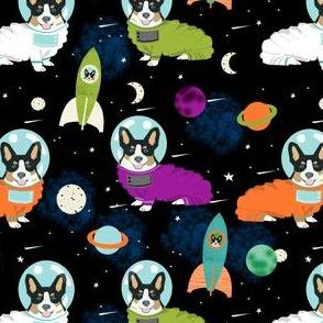 corgis in space fabric tricolored corgi cute dog design - black