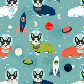 corgis in space fabric tricolored corgi cute dog design - blue