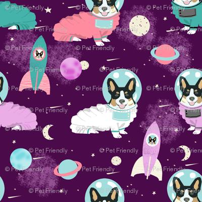 corgis in space fabric tricolored corgi cute dog design - purple
