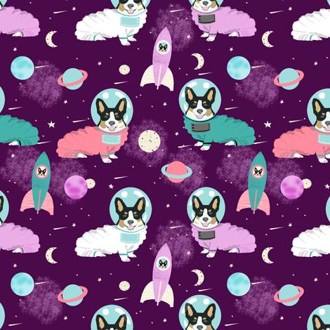 corgis in space fabric tricolored corgi cute dog design - purple fabric by petfriendly on Spoonflower - custom fabric
