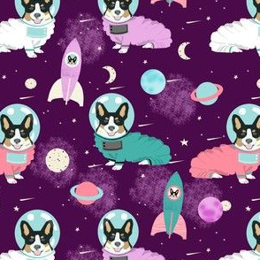 corgis in space fabric tricolored corgi cute dog design - purple