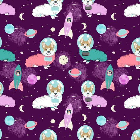 Corgis in space fabric corgi cute dog design purple for Space is fabric