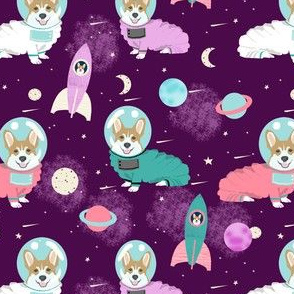 corgis in space fabric corgi cute dog design - purple