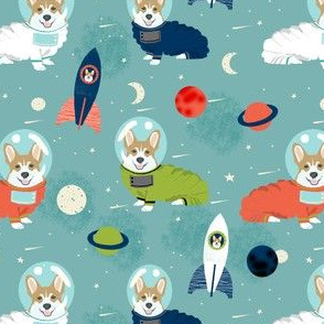 corgis in space fabric corgi cute dog design - blue