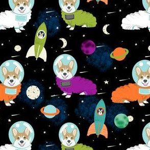 corgis in space fabric corgi cute dog design - black