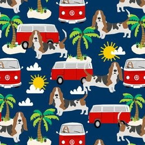 basset hound dog fabric summer beach bus hippie bus palm trees - navy