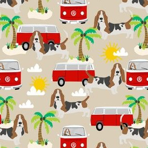 basset hound dog fabric summer palm trees - sand